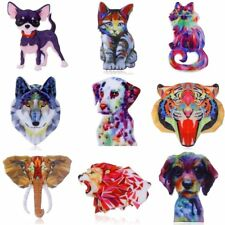 Handmade Printing Flower Pattern Brooch Pin Dog Cat Womens Jewellery Party Gift