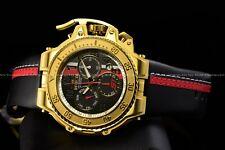Invicta 58mm S1 Racer Team Chrono Leather Gold/Black Swiss W/Helmet Case Watch