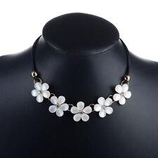 Lady Cream White Opal/Cat Eye Flower Zircon Necklace Boho Chic Choker Bib Chain