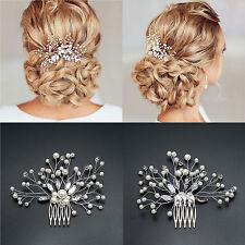 AU BRIDAL WEDDING CRYSTAL JEWEL DIAMANTE HAIR COMB HAIR PIECE CLIP FASCINATOR