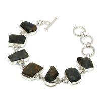 """Solid 925 Sterling Silver Natural Labradorite Rough Gemstone Bracelet 7-8 """""""