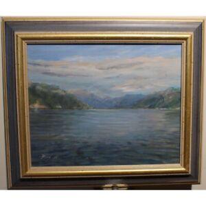 Vintage 1991 Original Bout du Lac Léman Oil canvas Painting signed RUTH