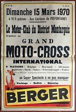 Affiche BERGER GRAND MOTO-CROSS INTERNATIONAL Montargis 1970