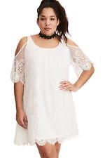 White Plus Size Lace Cold Shoulder Trapeze Dress Size 16-26