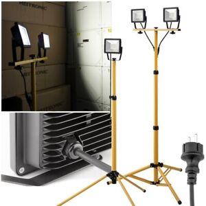 20/40/100W LED Außen-Bau-Strahler-Lampe mit Stativ 230V IP65 Baustellen-Fluter