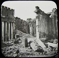 Glass Magic Lantern Slide THE TEMPLE OF THEBES C1900 EGYPT EGYPTIANS RUINS
