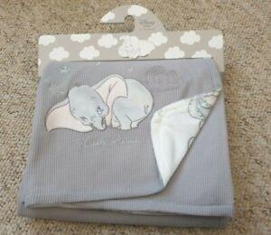 Officially Licensed Disney Dumbo the Elephant Grey Baby Blanket Primark