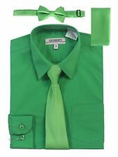 Boys Dress Shirt Long Sleeve Solid With Solid Tie Set Formal Toddler Size 2T-18