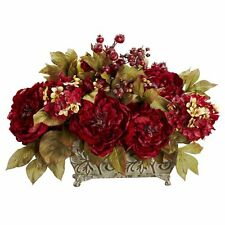 Nearly Natural 4929 Peony and Hydrangea Silk Flower Arrangement- Red