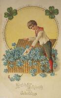 """""""Geburtstag, Kinder, Korb, Blumen"""" 1906, Prägekarte ♥"""