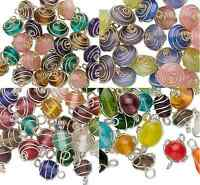 6934GB Charm Bead Drop Glass Wire Wrapped Mix MANY COLORS, 25 to 75 Beads