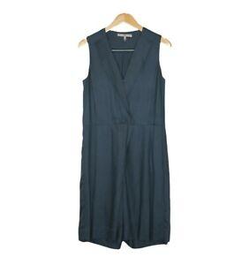 Halston Heritage Size US 4 (AU 8) Blue Sleeveless V Neck Viscose Silk Playsuit
