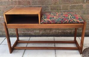 Vintage telephone seat and table - wooden with upholstered seat - 70s retro fab!