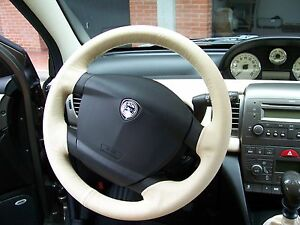 Lancia Y From 2003 A 2012 Coating Steering Wheel Genuine Leather Beige Sewing