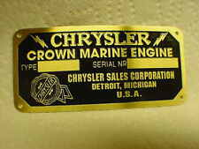Chrysler Crown Marine Engine Data Plate Etched Brass - black background