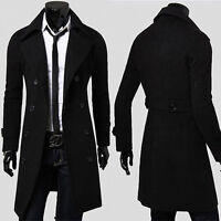 2018 Style Men's Wool Trench Winter Coats Long Jacket Double Breasted Overcoat