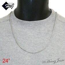 """24""""MEN's Stainless Steel 2.5mm Silver Smooth Rope Chain Necklace"""