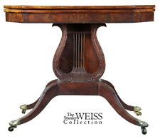 Swc-Carved Lyre Card Table, Philadelphia, c.1810