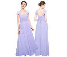 UK Straps Sleeves Long Bridesmaid Dresses Wedding Prom Gowns Corset Back