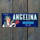 Vintage Original BLUE ANGELINA FRUIT CRATE BOX CITRUS Label Unused NOS
