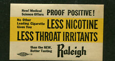 Vintage Label RALEIGH CIGARETTES Less Nicotine Less Throat Irritants  #IM