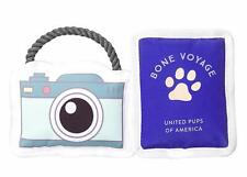 NEW! BONE VOYAGE CAMERA / PASSPORT DOG TOY 2pc SET CANVAS & ROPE w/ SQUEAKERS