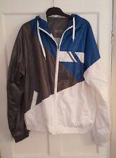 Ladies 'DENIM Co' Hooded waterproof Blue/White/Silver Coat. Size XL. vgc.
