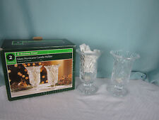 Holiday Time Glass Candleholders 2 Tealight Pressed Glass Pedestal Base 7 in New