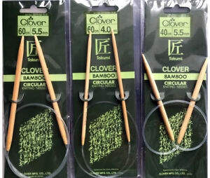 CLOVER Bamboo Circular Knitting Needles 2 Sizes 4.0mm 5.5mm 2 Lengths 40cm 60cm