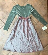 Bonnie Jean Girls NWT 14 Green/pink velour iridescent flower dress Christmas !!