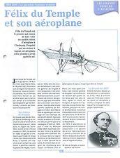 Général Félix du Temple pionnier Aéronautique Aéroplane à Vapeur France FICHE