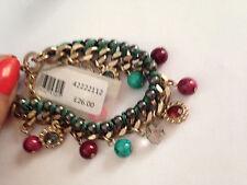 Rrp £ 26 pretty multi couleur perle & stone drop un bouton bracelet. neuf