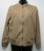 NWT LYSSE Latte Tan Soft Faux Suede Cropped Bomber Jacket Women's sz Small