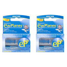 EarPlanes eP2 Reusable Earplugs - Protection From Flight Discomfort x 2 Pairs