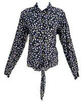 Banana Republic Top Blouse Womens M Black Multicolor Floral Long Sleeve NWT $78