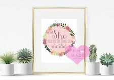 She believed she could so she did wall art print motivational