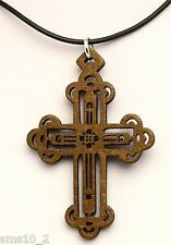 Black Colour Cord Necklace Hcn195 Hand Made Gothic Cross Pendant On