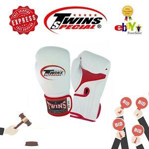 "Twins Muay Thai Boxing Gloves ""Air"" BGVLA-1RD White color 14oz"