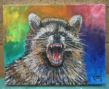 ROWDY RACCOON wild animal oil Painting 8x10 canvas Original art signed Crowell $