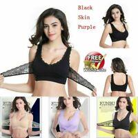 Sexy Women Front Cross Side Buckle Wireless Lace Bra Breathable Sport Yoga Bra