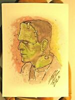 FRANKENSTEIN ACEO Print Card By Phil Born watercolor Universal Monsters vintage