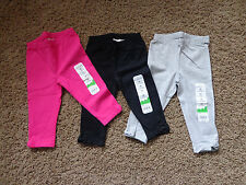 JUMPING BEANS girl's NWT sz 12 months leggings (3 pairs) pink, black, & gray