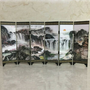 1 X Wooden Chinese Vintage Retro Small Mini Folding Panel Screen Room Divider