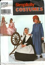 Simplicity 9708 Girls Pilgrim Puritan 1800s 1900s Dress Apron Costume Pattern