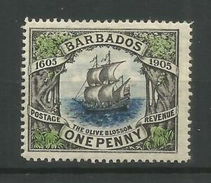 BARBADOS 1905 Ship Olive Blossom 1d, SG 152. Mounted Mint