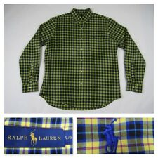 Ralph Lauren Mens Large Plaid Yellow Oxford Button Front Long Sleeve Shirt NEW