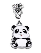 Panda Bear Animal Black White Enamel Dangle Bead fits European Charm Bracelets