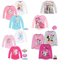 Girls Long Sleeve T-Shirt Top Disney Princess Frozen Minnie Mouse MLP Age 2-10