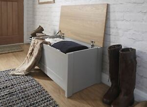 Grey Oak Ottoman Storage Chest Toy Chest or Blanket Bedding Box Seconds