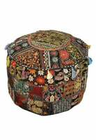 Ottoman Vintage Pouf Round Indian Ottoman Cover Poof Pouffe Foot Stool Bohemian